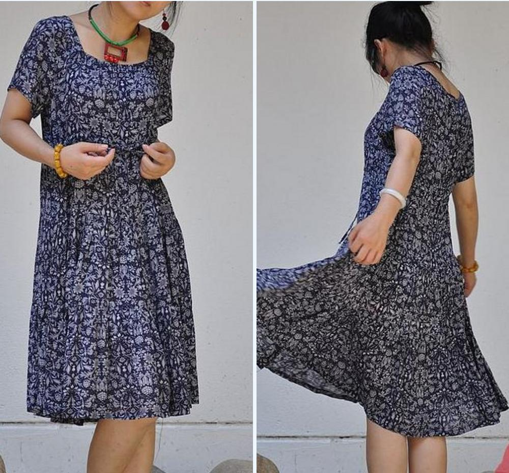 Cotton pumping with waist broken pleated short sleeve swing dress