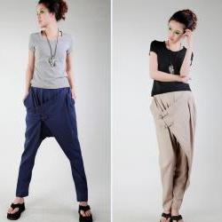 Oblique buckle harem pants